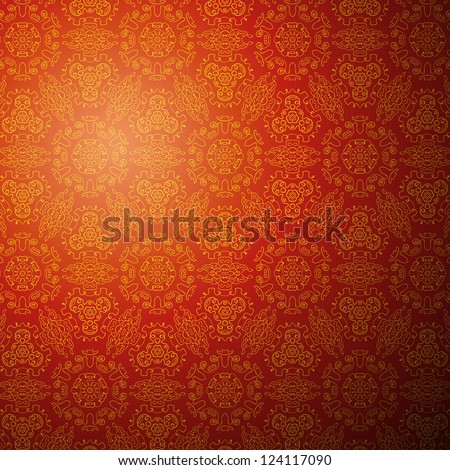 Chinese pattern background. Vector illustration for your fashion design. Stylish elements for web design. Endless eastern red and yellow ornamental. Easy to use and change color.