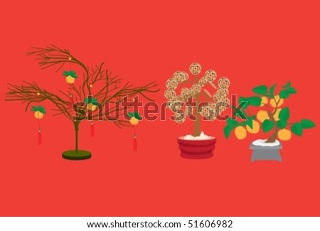 chinese prosperity tree - stock vector