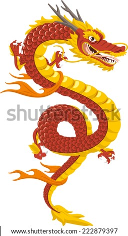 chinese red dragon of power and