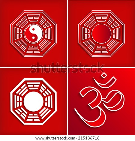 Chinese Religion Symbol Set On Red Vector Illustration Om Symbol