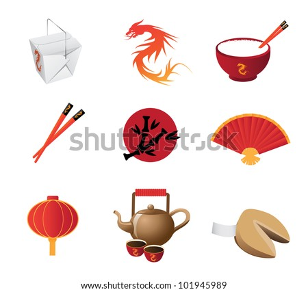 chinese restaurant icon set eps