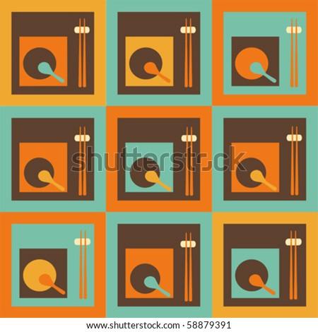 Chinese restaurant  - seamless pattern - stock vector