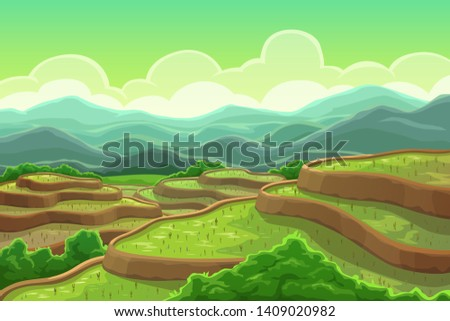 Chinese rice fields in mountain landscape, plantation on cascade field, terraced agriculture. Vector green trees and mountain scenery, asian meadow with plants. Tea plantation in China, Vietnam, India