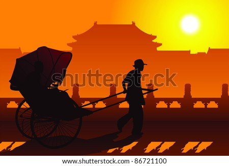 Chinese rickshaw in old Beijing