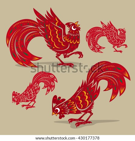 chinese rooster paper cutting