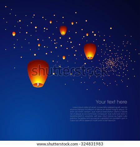 chinese sky lanterns floating