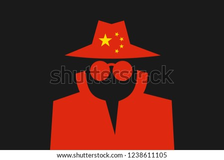 Chinese spy is doing espionage - surveillance and control made by China. Intelliegence agency and secret police in the country. Vector illustration Foto stock ©