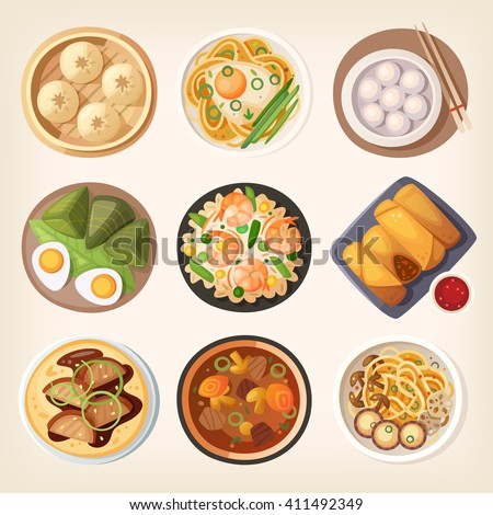 Chinese street, restaurant or homemade food icons for ethnic menu