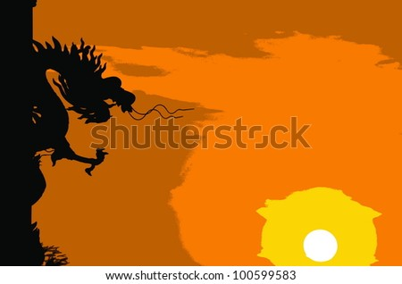 Chinese style Dragon statue silhouette illustrator.