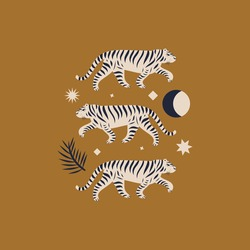 Chinese style tigers ornamental illustration in vector. Moon magic concept.