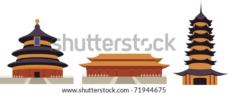 Chinese Temple Vector Chinese Temples Isolated on