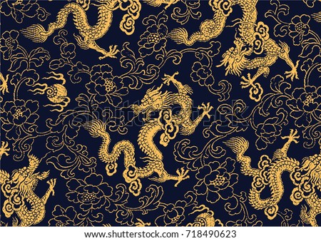 Chinese traditional golden dragon and peony pattern