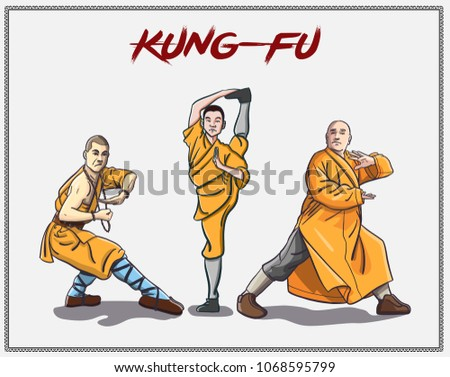 chinese vector shaolin monk in