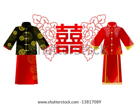 stock vector chinese wedding clothes man and girl