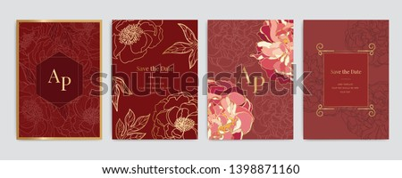 Chinese Wedding Invitation, floral invite thank you, rsvp modern card Design in Golden and Red Peony with leaf greenery  branches decorative Vector elegant rustic template