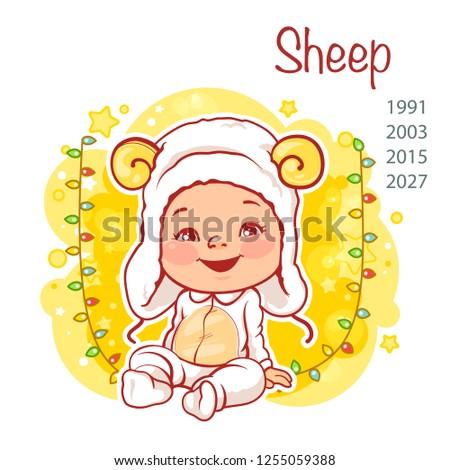 bf5512fcde4b Cute little baby wear costume of sheep. Little girl as sheep