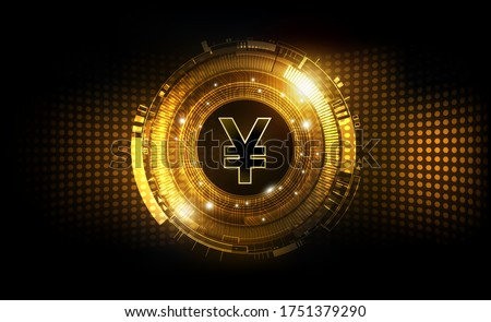 Chinese Yuan digital currency, Yuan currency futuristic digital money on gold abstract technology background worldwide network concept, vector illustration