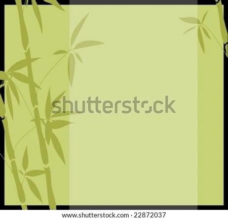 Chinese zenlike bamboo background in green color-vector
