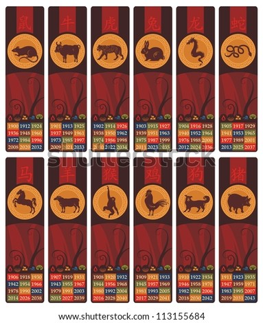 Chinese zodiac bookmarks or banners set with years and the five elements symbols