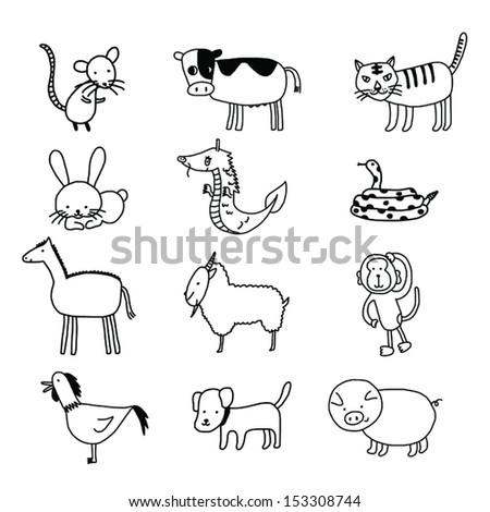 Chinese Zodiac cartoon illustration on white background, ESP10