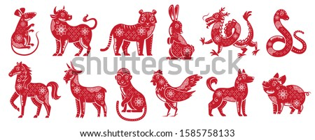 Chinese Zodiac New Year signs. Traditional china horoscope animals, red zodiacs silhouette. Astrological calendar cat, dragon and tiger mascots. Isolated vector illustration icons set