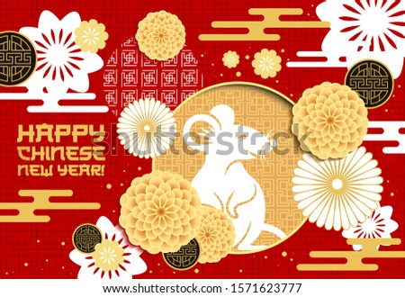 Chinese zodiac rat vector design of Lunar New Year. Mouse animal horoscope symbol with white papercut flowers and golden coins on floral pattern with oriental clouds and chrysanthemums