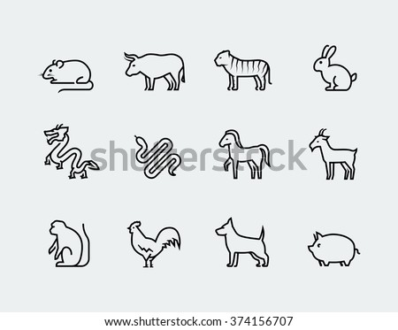 chinese zodiac vector icons in