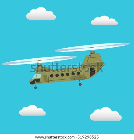 Chinook transport helicopter flying in the sky vector illustration