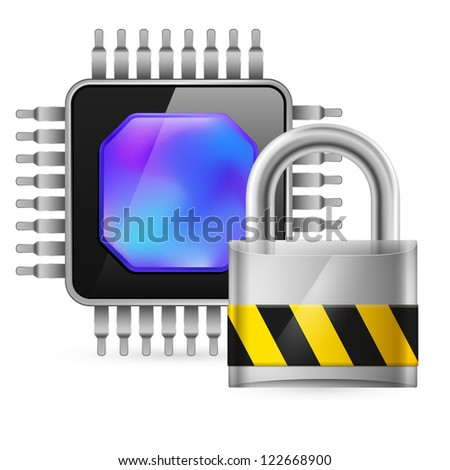 Chip and padlock. Illustration on white background