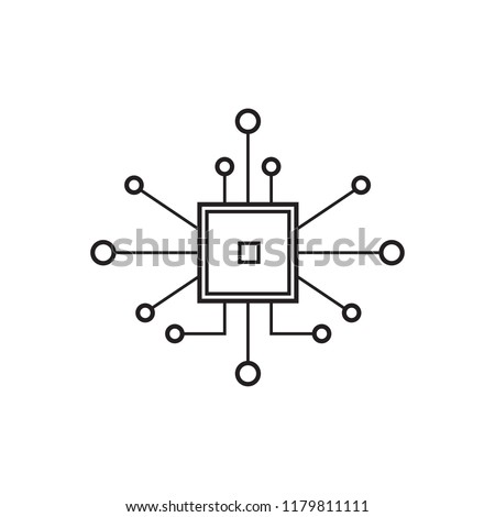 Chip icon isolated on white background. Chip icon for web site and app. Modern flat microchip symbol. Vector illustration, abstract concept