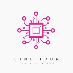 chip isolated minimal icon. processor line vector icon for websites and mobile minimalistic flat design.