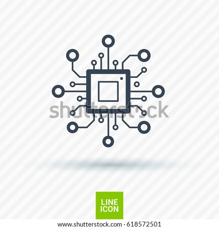 chip processor line vector icon