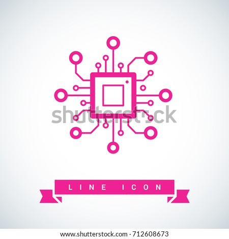 chip processor line vector icon