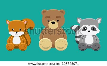 chipmunk bear raccoon doll set