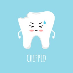 Chipped tooth icon isolated on blue background. Broken teeth with problem treatment concept. Flat cartoon sad dentistry character vector illustration. Dental health care design element.