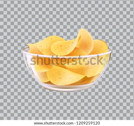 Chips in glass bowl as snack to beer. Fast food meal made of fried slices of potato in heap inside dishware realistic 3D vector on transparent backdrop