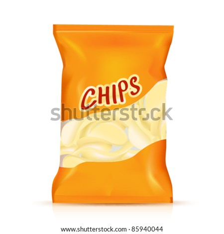chips plastic bag, Vector illustration