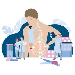 Chiropractor and osteopathy, health back, manual therapy. Vector alternative medical therapy for spine, pain back, illustration injury chronic, manual healing and adjustment. Chiropractor spine flat