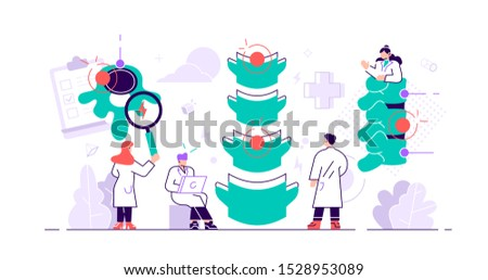 Chiropractor concept. Alternative medicine person. Spine pain, problems and disorders manual therapy. Anatomical patient body natural treatment from injury diagnosis. Flat tiny vector illustration