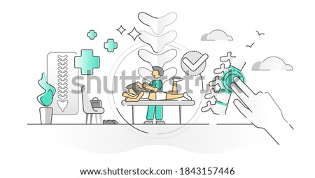 Chiropractor health treatment with spine massage monocolor outline concept. Medical backache pain rehabilitation and recovery after chronic physical injury vector illustration. Joint and muscle care. Foto stock ©
