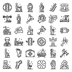 Chiropractor icons set. Outline set of chiropractor vector icons for web design isolated on white background