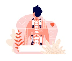 Chiropractor. Spine disease diagnosis problems and treatment pain. Chiropractors and back of patient. Natural osteopathy vector concept