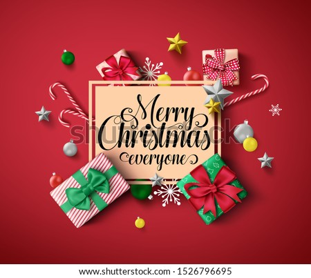 Chirstmas greeting vector template. Merry christmas everyone greeting text in orange empty frame with colorful elements of xmas decor like gift, candy cane, and ball in red background.