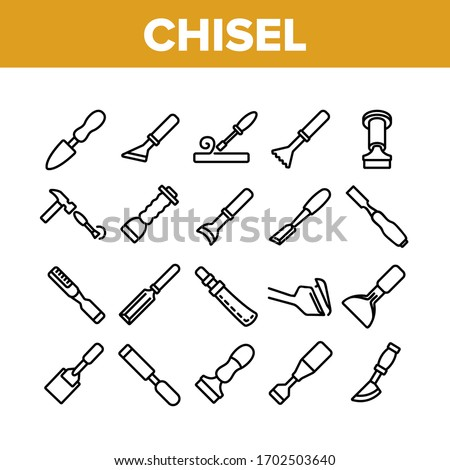 Chisel Carpentry Tool Collection Icons Set Vector. Sharp Steel Chisel With Hammer, Carpenter Instrument, Workshop Equipment Concept Linear Pictograms. Monochrome Contour Illustrations Foto stock ©