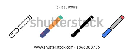 chisel icon vector with different style design. isolated on white background Stock photo ©