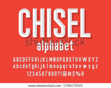 Chisel style alphabet design with uppercase, lowercase, number and symbols Stock photo ©