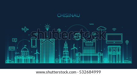 Chisinau skyline, detailed silhouette. Smart city concept, business communication. Trendy vector illustration, linear style