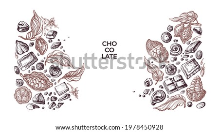 Choco border. Vector graphic cocoa fruit, beans, candy, sweets. Art sketch pattern. Aroma natural chocolate. Vintage design for sweet-shop, cafe