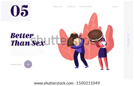 Choco Confectionery Production Website Landing Page. Tiny Man and Woman Holding Huge Chocolate Candies and Cookie. Sweets Lovers Characters, Factory Web Page Banner. Cartoon Flat Vector Illustration
