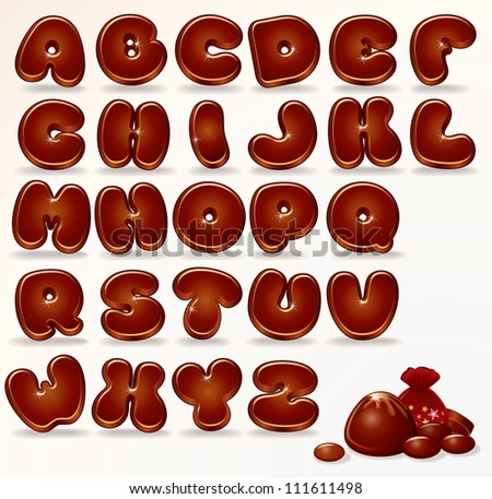 Chocolate Alphabet. Vector Cartoon Font